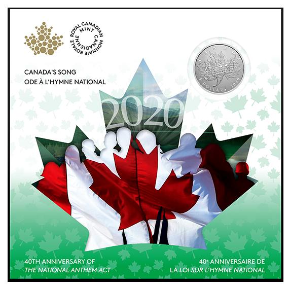 Канада монета 5 долларов 40 лет со дня принятия Закона О национальном гимне, подарочная упаковка