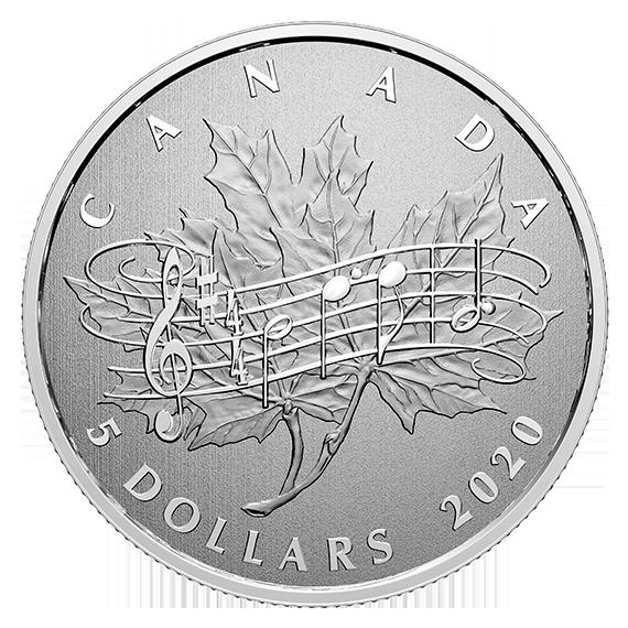 Канада монета 5 долларов 40 лет со дня принятия Закона О национальном гимне, реверс