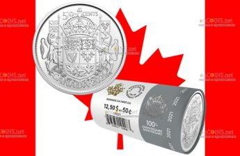 Канада монета 50 центов 100 лет гербу Канады