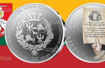Литва монета 20 евро 230 лет Конституции