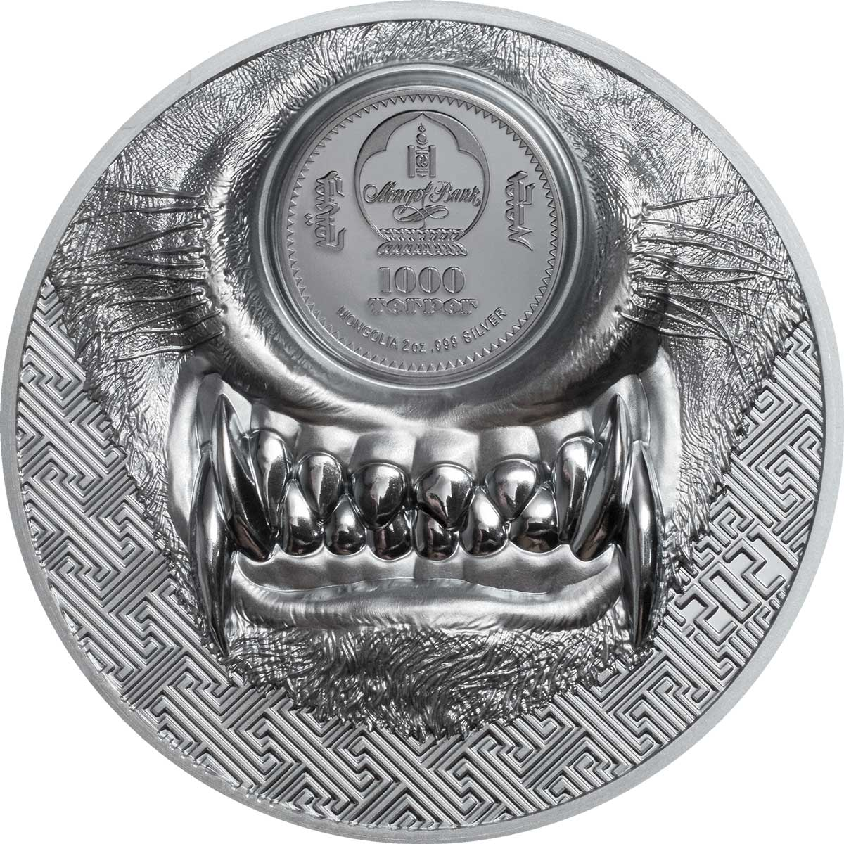 Монголия монета 1 000 тугриков Мистический Волк, аверс