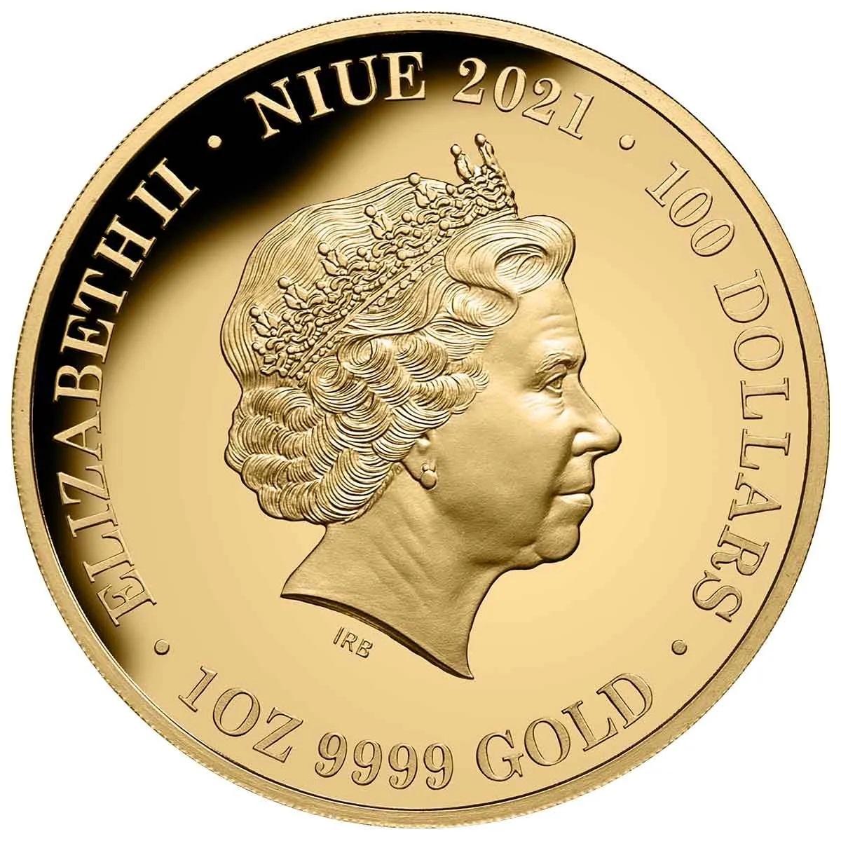 Ниуэ монета 100 долларов 95-летие со дня рождения королевы Елизаветы II, аверс