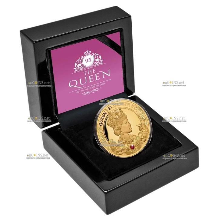 Ниуэ монета 100 долларов 95-летие со дня рождения королевы Елизаветы II, подарочная упаковка