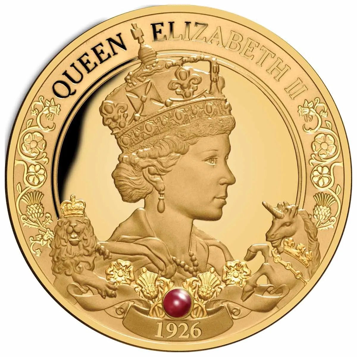 Ниуэ монета 100 долларов 95-летие со дня рождения королевы Елизаветы II, реверс
