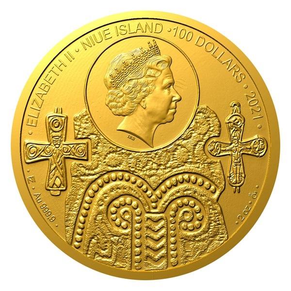 Ниуэ монета 100 долларов Святые Людмила и Вацлав, аверс