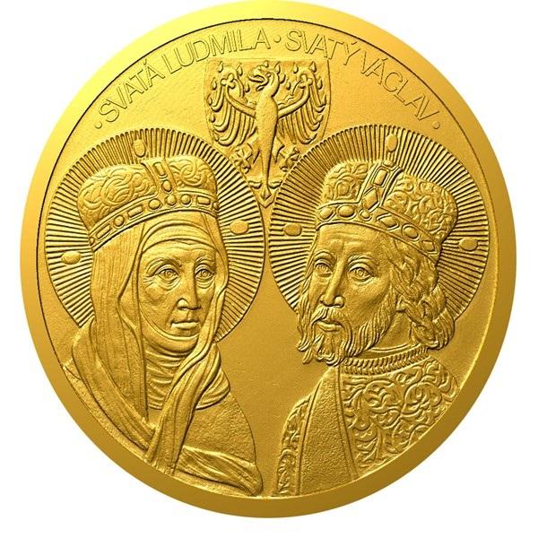 Ниуэ монета 100 долларов Святые Людмила и Вацлав, реверс