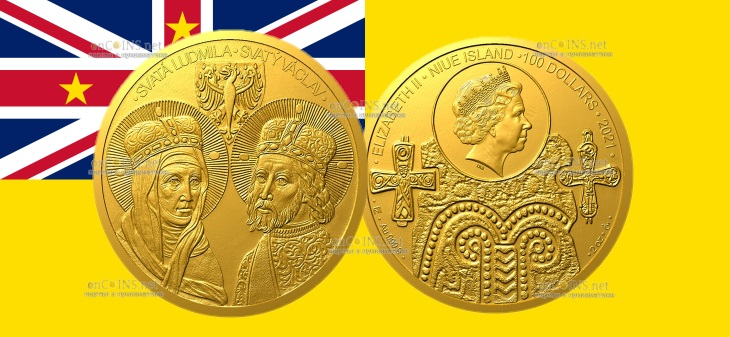 Ниуэ монета 100 долларов Святые Людмила и Вацлав