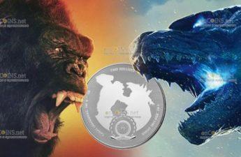 Ниуэ монета 2 доллара Годзилла против Кинг Конга