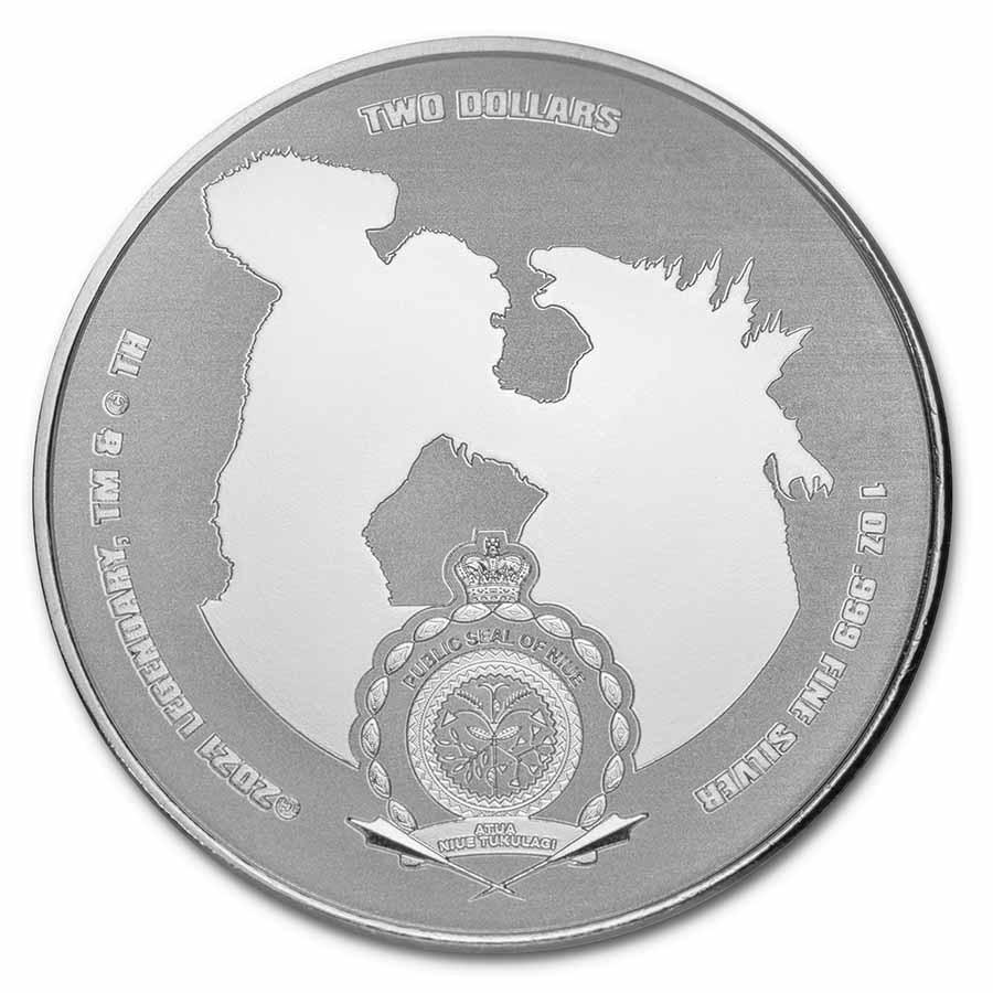 Ниуэ монета 2 доллара Годзилла против Кинг Конга, аверс
