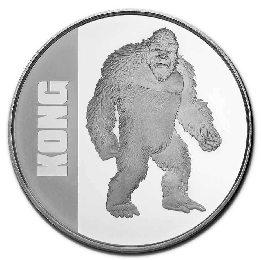 Ниуэ монета 2 доллара Годзилла против Кинг Конга, реверс
