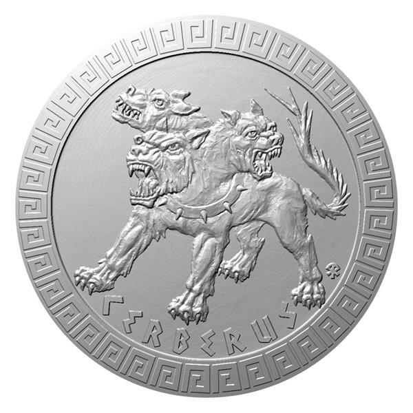 Ниуэ монета 2 доллара Цербер, реверс