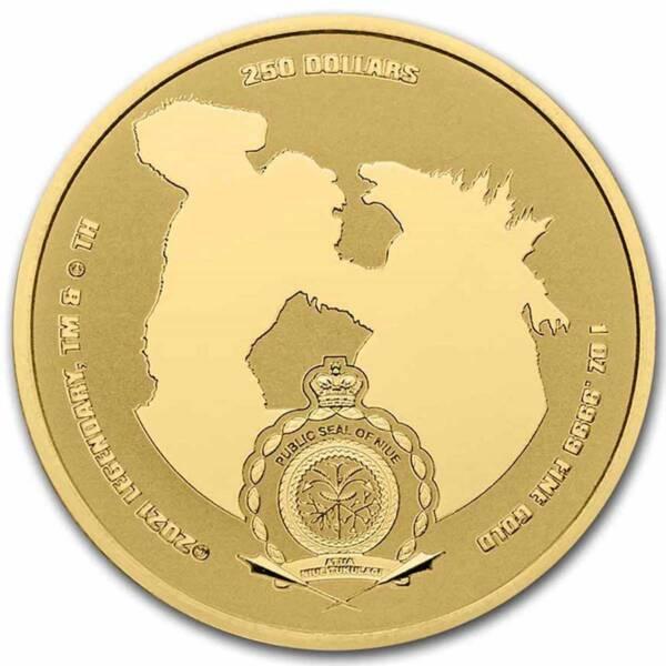 Ниуэ монета 250 долларов Годзилла против Кинг Конга, аверс
