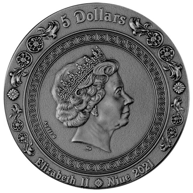 Ниуэ монета 5 долларов Русалка, аверс