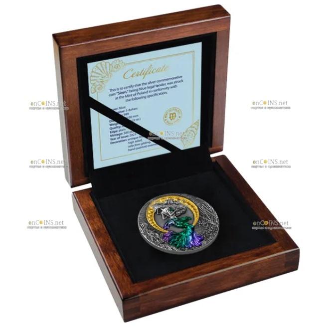 Ниуэ монета 5 долларов Русалка, подарочная упаковка