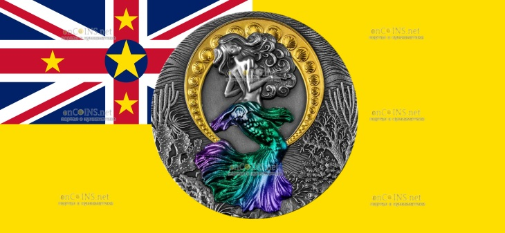 Ниуэ монета 5 долларов Русалка