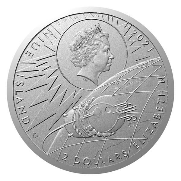 Ниуэ монета 2 доллара Человек в космосе, аверс