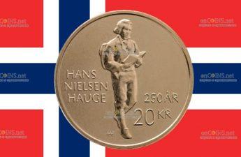 Норвегия монета 20 крон Ханс Нильсен Хауге