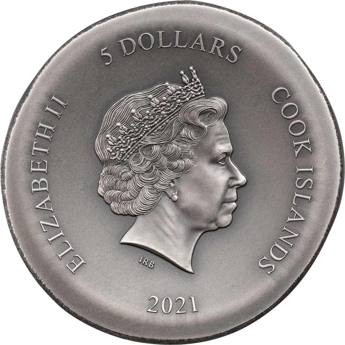 Острова Кука монета 5 долларов Афинская сова, аверс