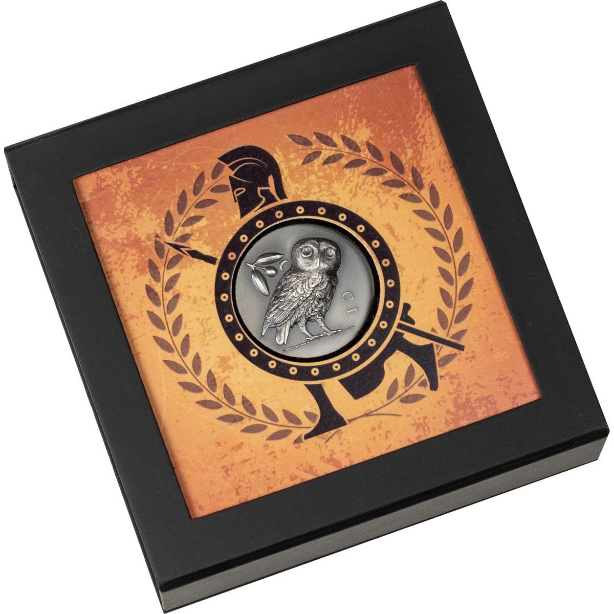 Острова Кука монета 5 долларов Афинская сова, подарочная упаковка