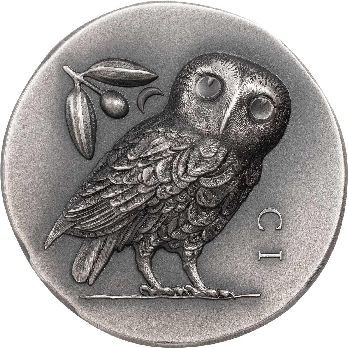 Острова Кука монета 5 долларов Афинская сова, реверс