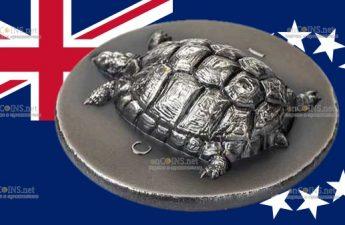 Острова Кука монета 5 долларов Эгинетическая Черепаха