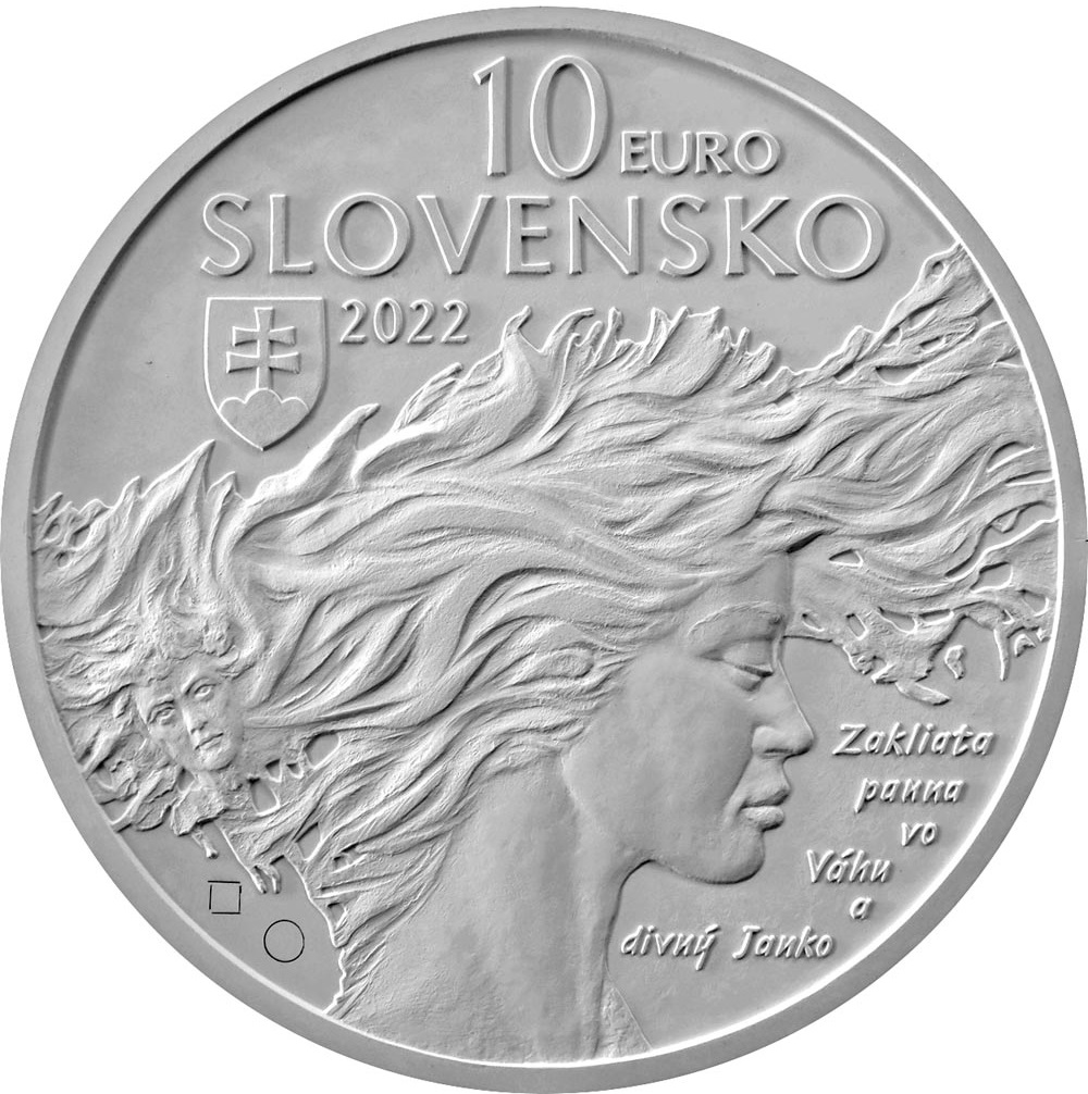 Словакия монета 10 евро Янко Краль, аверс