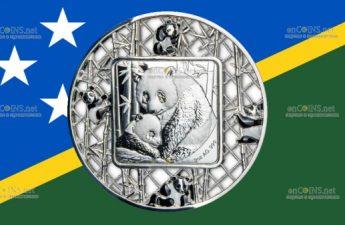Соломоновы острова монета 5 долларов Панда