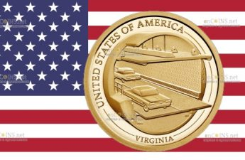 США монета 1 доллар Мост-туннель через Чесапикский залив