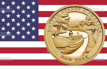 США монета 1 доллар Нью-Йорк - канал Эри