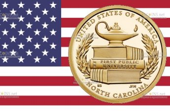 США монета 1 доллар Первое государственное высшее учебное заведение в США