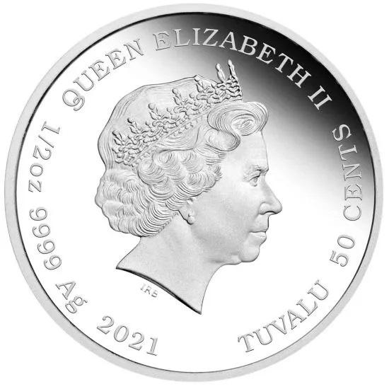 Тувалу монета пол доллара 2021 год, аверс