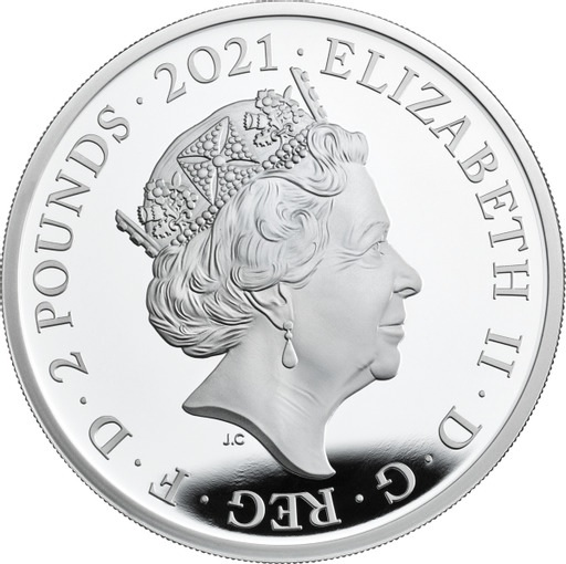 Великобритания серебряная монета 2 фунта 2021 год, аверс
