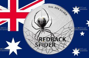 Австралия монета 5 долларов Красный паук