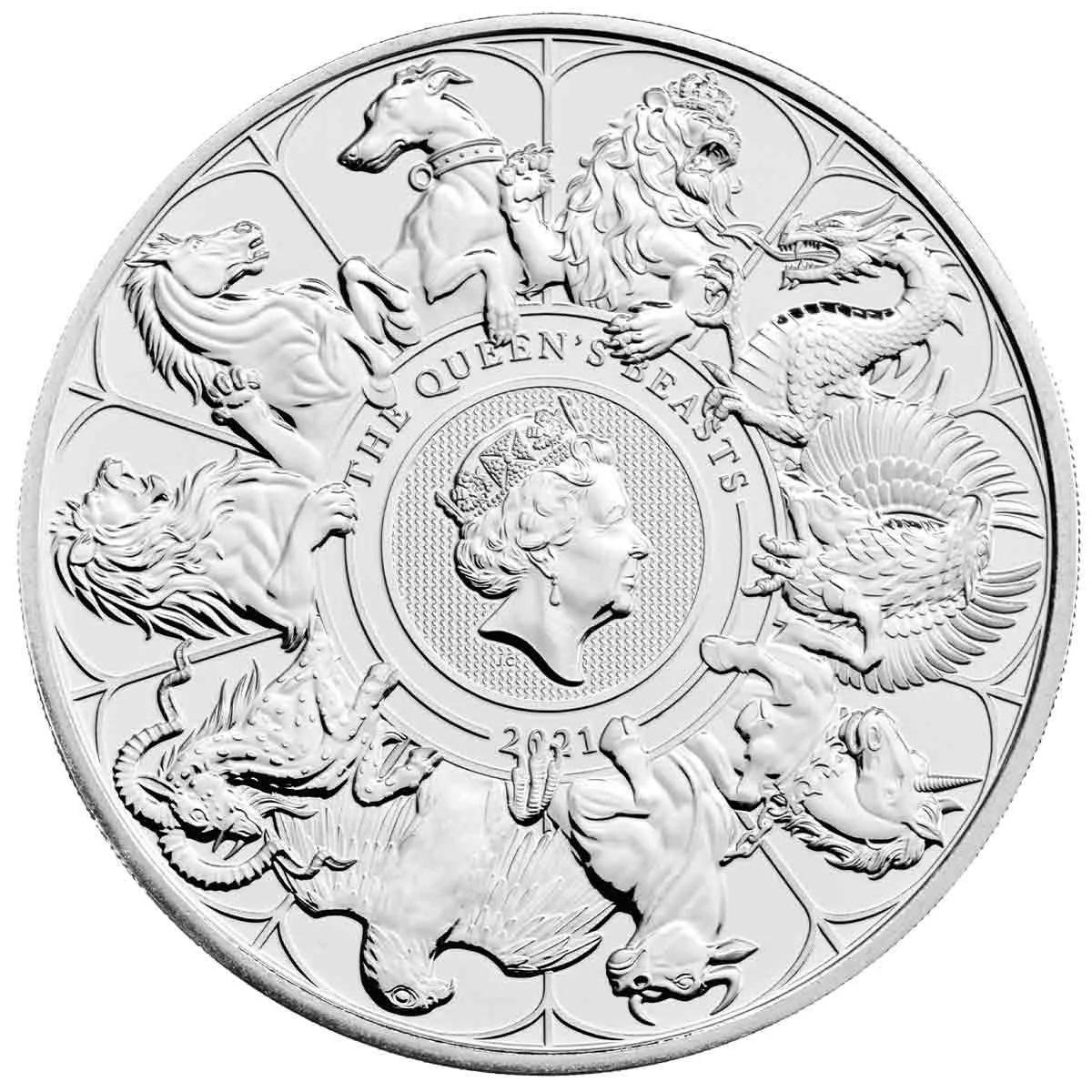 Британия монета 5 фунтов Звери Королевы, реверс