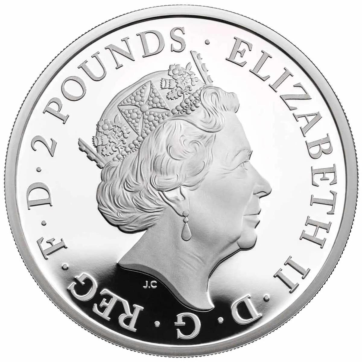 Британия серебряная монета 2 фунта 2021, аверс
