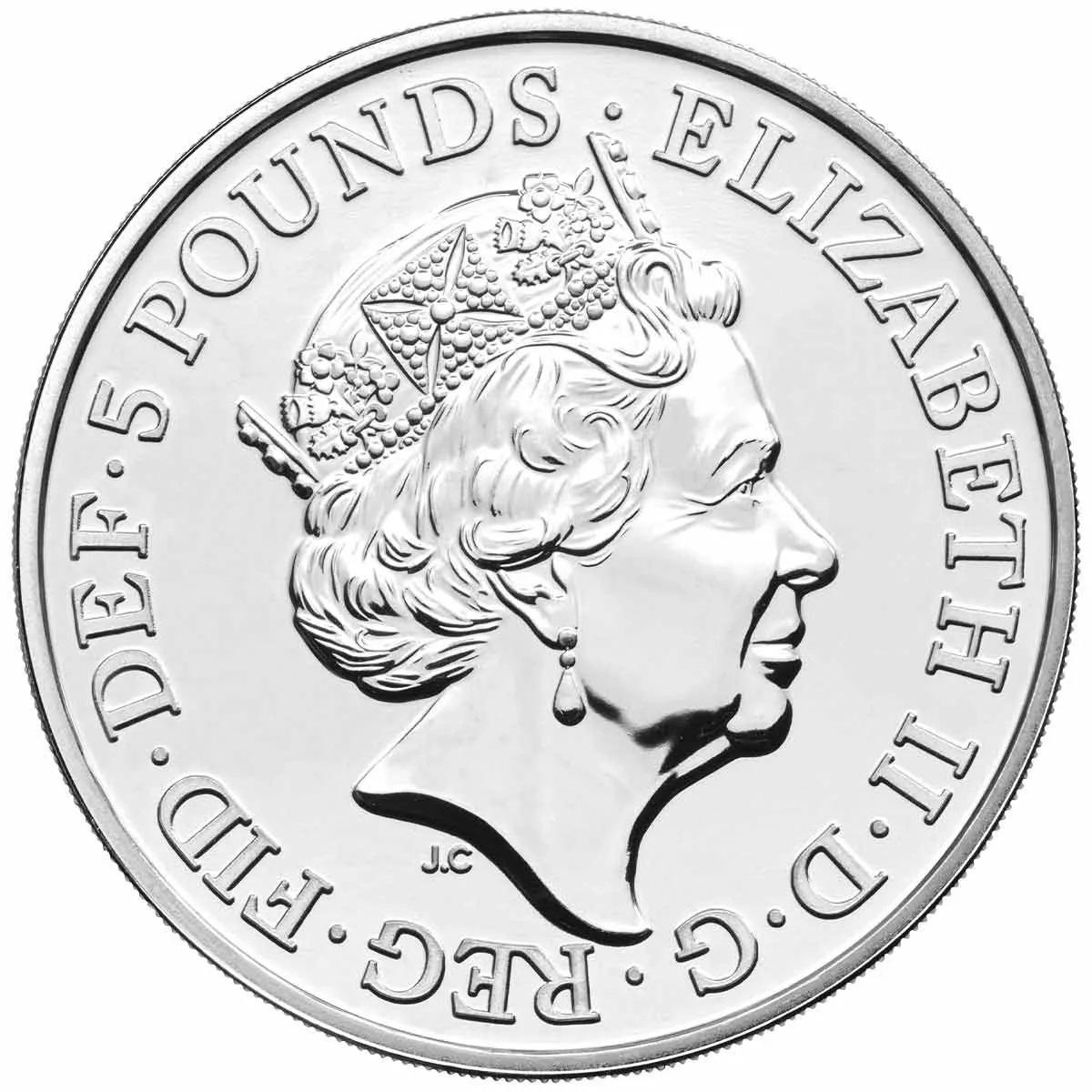 Британия серебряная монета 5 фунтов 2021, аверс