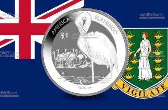 Британские Виргинские острова монета 1 доллар Фламинго
