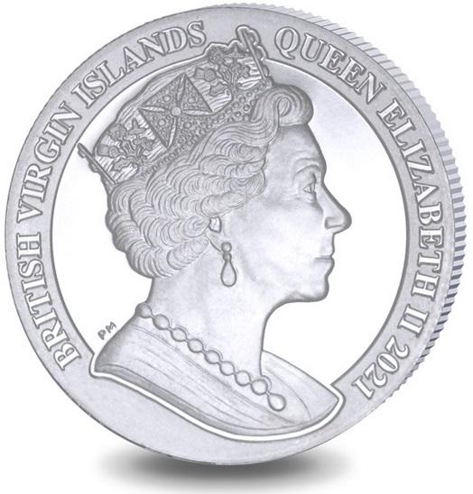Британской Виргинские острова монета 1 доллар 100 лет перехода от доллара Моргана к доллару Мира, аверс