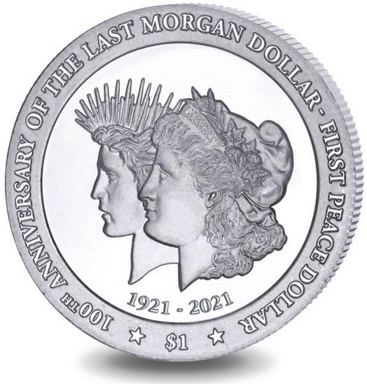 Британской Виргинские острова монета 1 доллар 100 лет перехода от доллара Моргана к доллару Мира, реверс