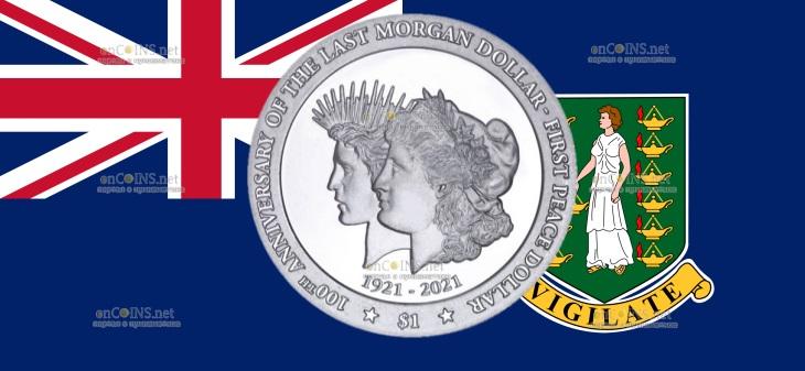 Британской Виргинские острова монета 1 доллар 100 лет перехода от доллара Моргана к доллару Мира