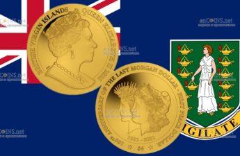 Британской Виргинские острова монета 4 доллара 100 лет перехода от доллара Моргана к доллару Мира
