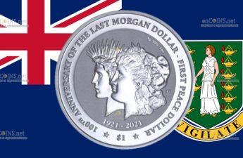 Британской Виргинские острова серебряная монета 1 доллар 100 лет перехода от доллара Моргана к доллару Мира