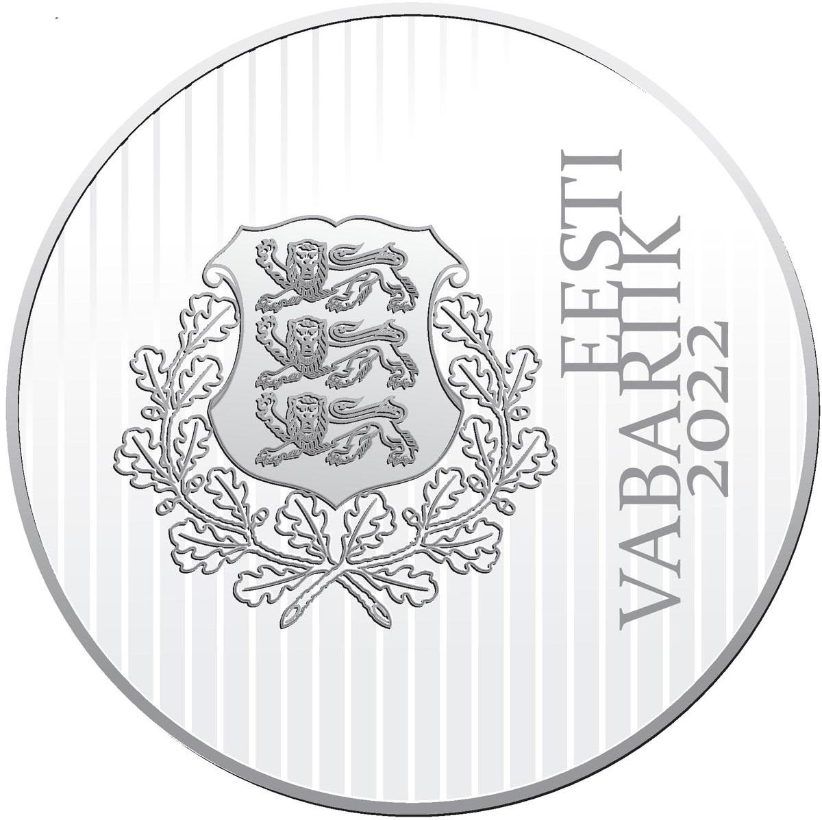 Эстония монета 15 евро Йохан Питка, аверс