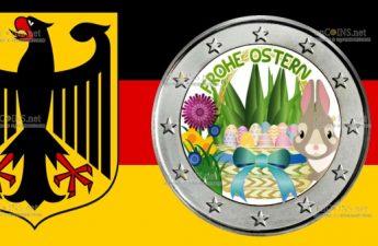 Германия монета 2 евро С Пасхой