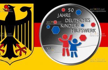 Германия монета 20 евро 50 лет Немецкому детскому фонду