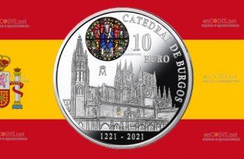 Испания монета 10 евро 800 лет со дня начала строительства собора Бургоса