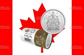 Канада монета 50 центов 100-летие оригинального герба Канады