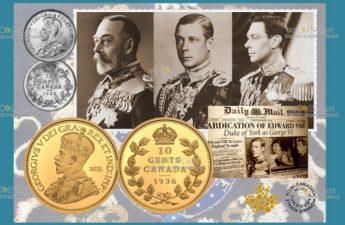 Канада монета 10 центов 1936 года