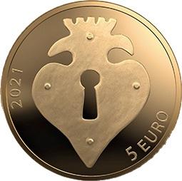 Латвия монета 5 евро Золотой Ключик, реверс