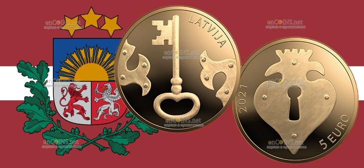 Латвия монета 5 евро Золотой Ключик
